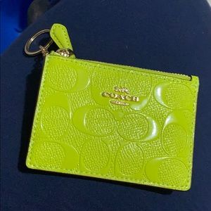 Like New Coach Neon Yellow Card Case